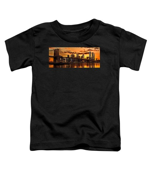 Fiery Sunset Over Manhattan  Toddler T-Shirt by Az Jackson