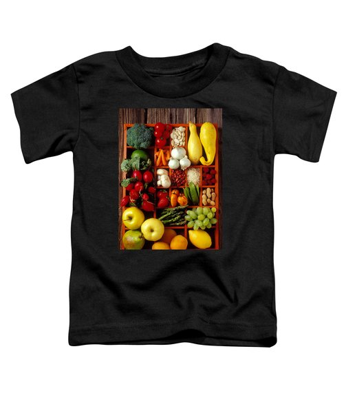 Fruits And Vegetables In Compartments Toddler T-Shirt by Garry Gay