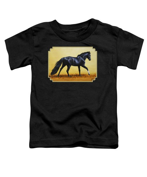 Horse Painting - Black Beauty Toddler T-Shirt by Crista Forest