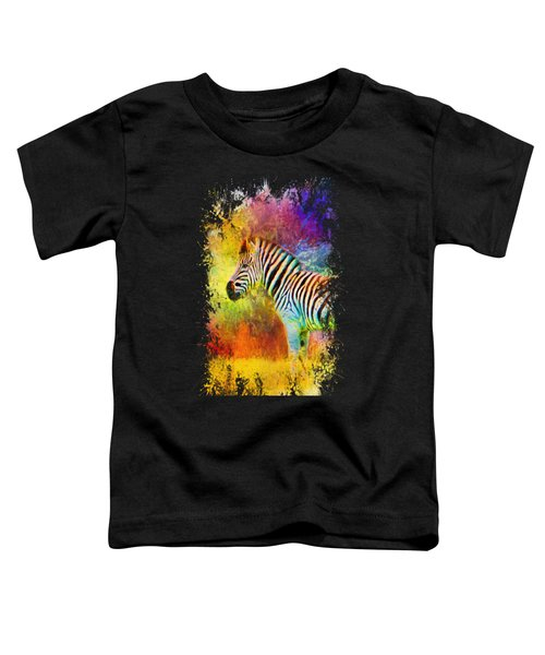 Jazzy Zebra Colorful Animal Art By Jai Johnson Toddler T-Shirt by Jai Johnson