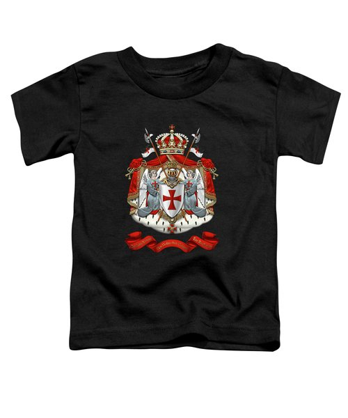 Knights Templar - Coat Of Arms Over Black Velvet Toddler T-Shirt by Serge Averbukh