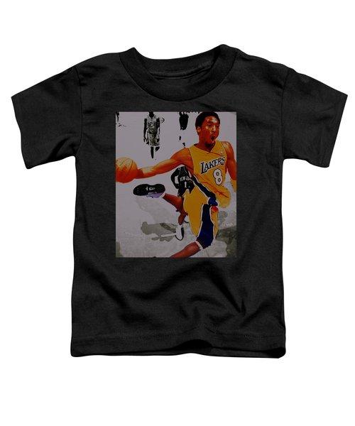 Kobe Bryant Taking Flight 3a Toddler T-Shirt by Brian Reaves