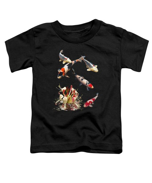 Koi With Honeysuckle Reflections Vertical Toddler T-Shirt by Gill Billington