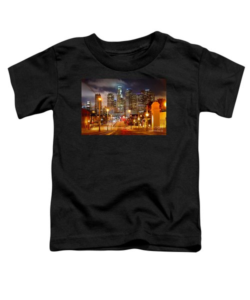 Los Angeles Skyline Night From The East Toddler T-Shirt by Jon Holiday