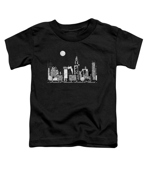 Manhattan At Night New York Swings Toddler T-Shirt by Cecely Bloom