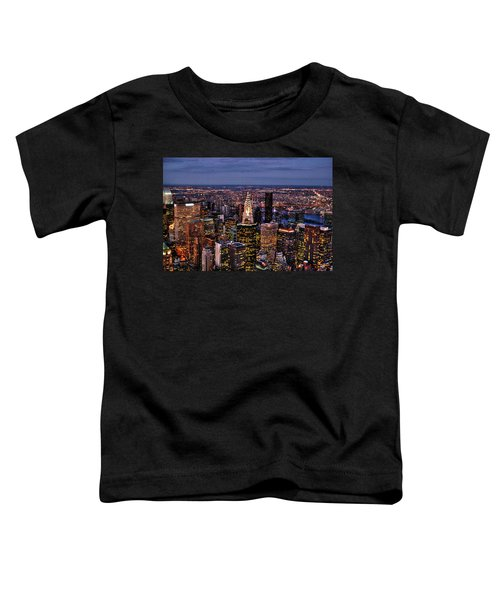 Midtown Skyline At Dusk Toddler T-Shirt by Randy Aveille