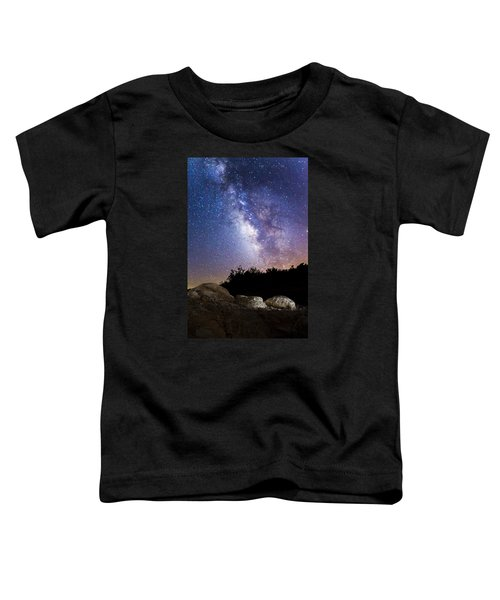 Milky Way Over A Western Diamondback Rattlesnake Toddler T-Shirt by Chuck Brown