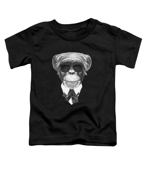 Monkey In Black Toddler T-Shirt by Marco Sousa