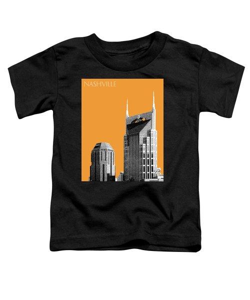 Nashville Skyline At And T Batman Building - Orange Toddler T-Shirt by DB Artist