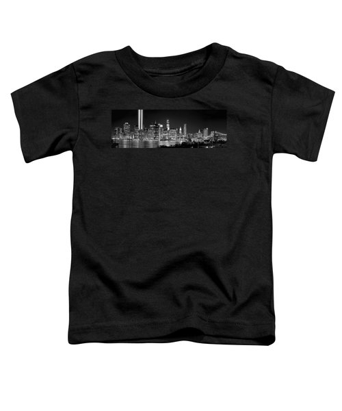 New York City Bw Tribute In Lights And Lower Manhattan At Night Black And White Nyc Toddler T-Shirt by Jon Holiday