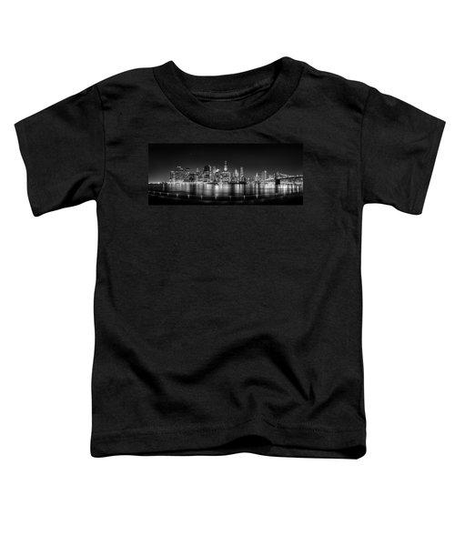 New York City Skyline Panorama At Night Bw Toddler T-Shirt by Az Jackson