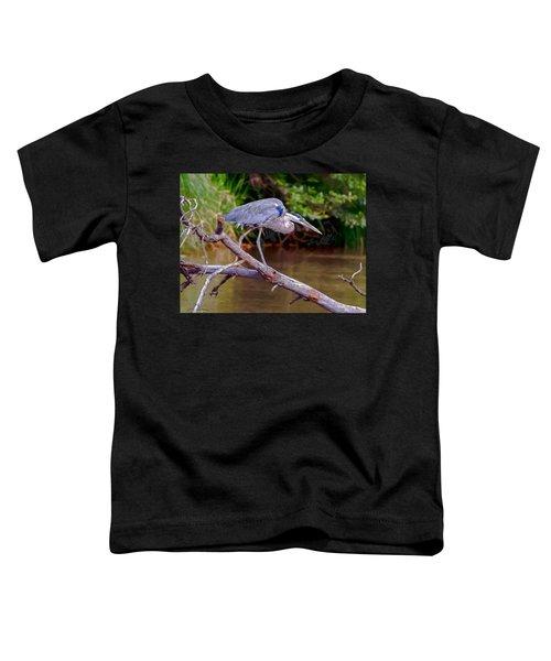 Painting Blue Heron Oak Creek Toddler T-Shirt by Dr Bob Johnston