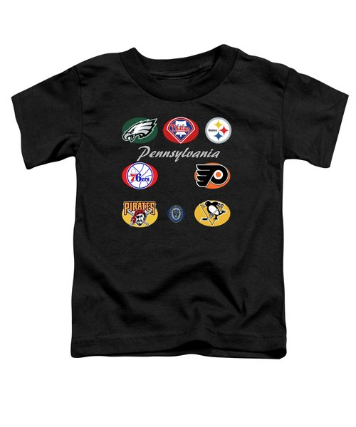 Pennsylvania Professional Sport Teams Collage  Toddler T-Shirt by Movie Poster Prints