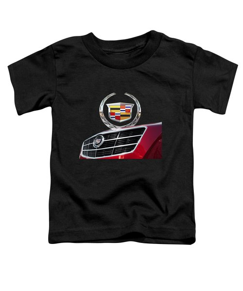 Red Cadillac C T S - Front Grill Ornament And 3d Badge On Black Toddler T-Shirt by Serge Averbukh
