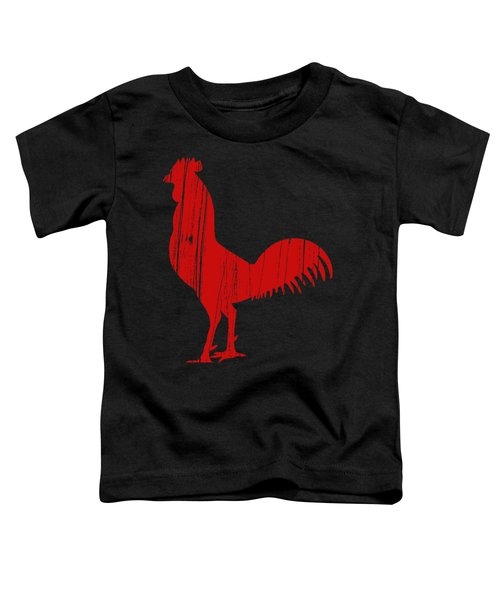 Red Rooster Tee Toddler T-Shirt by Edward Fielding