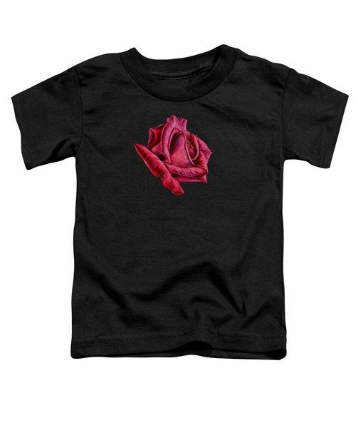 Red Rose On Black Toddler T-Shirt by Sarah Batalka