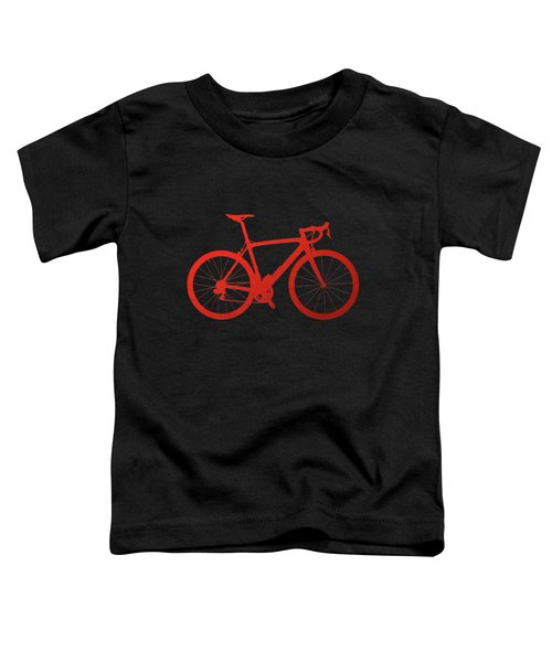 Road Bike Silhouette - Red On Black Canvas Toddler T-Shirt by Serge Averbukh