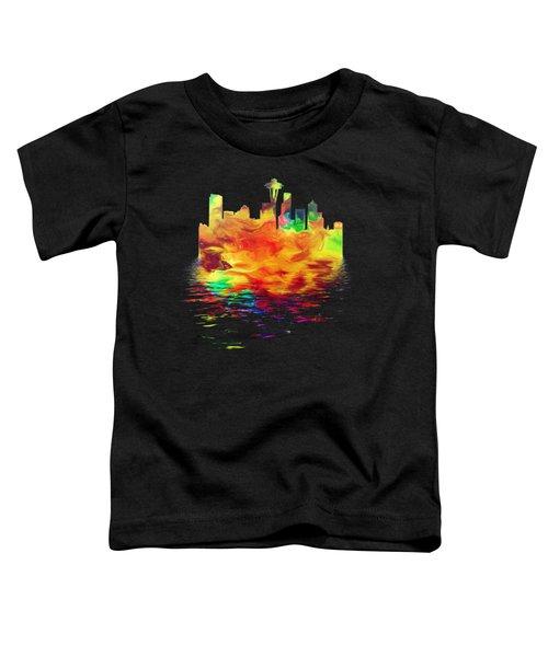 Seattle Skyline, Orange Tones On Black Toddler T-Shirt by Pamela Saville