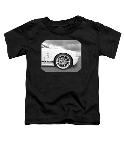 Shelby Gt500 Wheel Black And White Toddler T-Shirt by Gill Billington