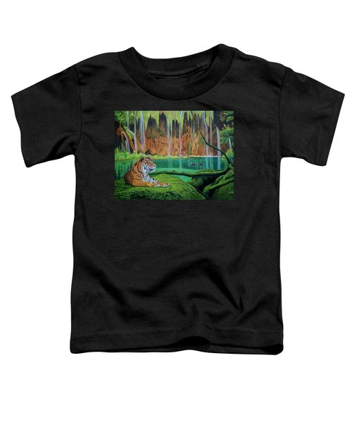 Tiger At The Waterfall  Toddler T-Shirt by Manuel Lopez
