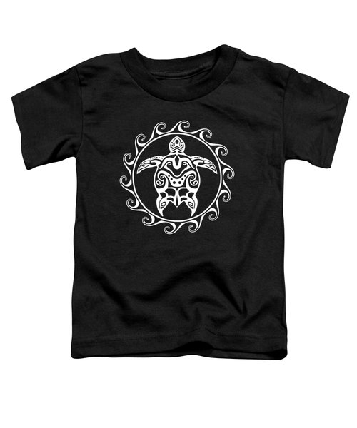 White Tribal Turtle Toddler T-Shirt by Chris MacDonald