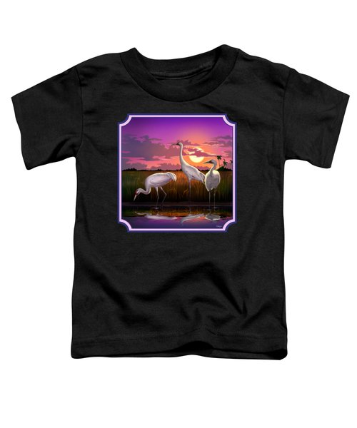 Whooping Cranes At Sunset Tropical Landscape - Square Format Toddler T-Shirt by Walt Curlee