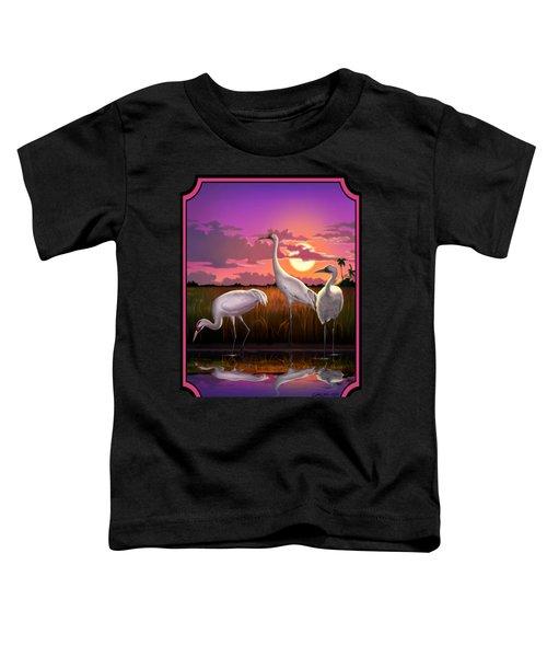 Whooping Cranes Tropical Florida Everglades Sunset Birds Landscape Scene Purple Pink Print Toddler T-Shirt by Walt Curlee