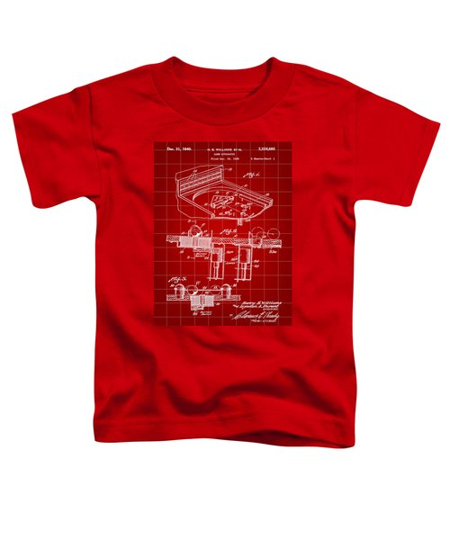 Pinball Machine Patent 1939 - Red Toddler T-Shirt by Stephen Younts