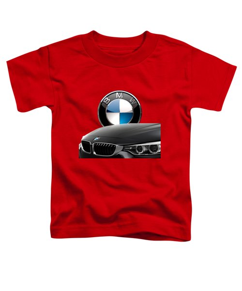 Black B M W - Front Grill Ornament And 3 D Badge On Red Toddler T-Shirt by Serge Averbukh