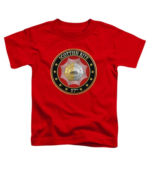 17th Degree - Knight Of The East And West Jewel On Red Leather Toddler T-Shirt by Serge Averbukh