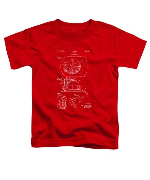 1932 Fireman Helmet Artwork Red Toddler T-Shirt by Nikki Marie Smith
