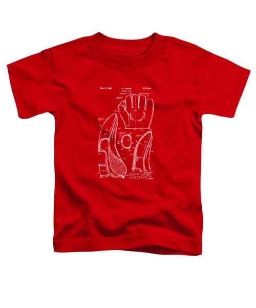1941 Baseball Glove Patent - Red Toddler T-Shirt by Nikki Marie Smith