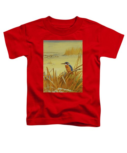 A Kingfisher Amongst Reeds In Winter Toddler T-Shirt by Archibald Thorburn