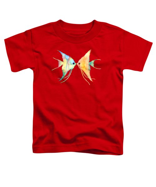 Angelfish Kissing Toddler T-Shirt by Hailey E Herrera