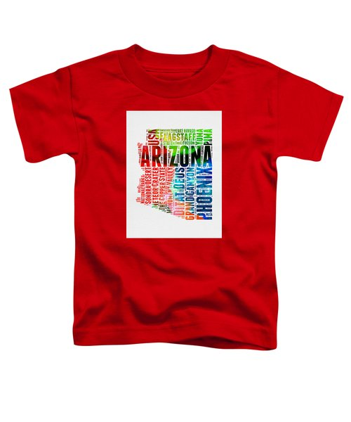 Arizona Watercolor Word Cloud Map  Toddler T-Shirt by Naxart Studio