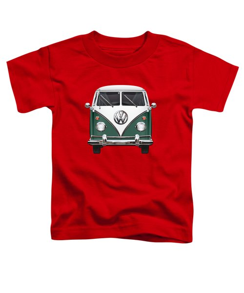 Volkswagen Type 2 - Green And White Volkswagen T 1 Samba Bus Over Red Canvas  Toddler T-Shirt by Serge Averbukh