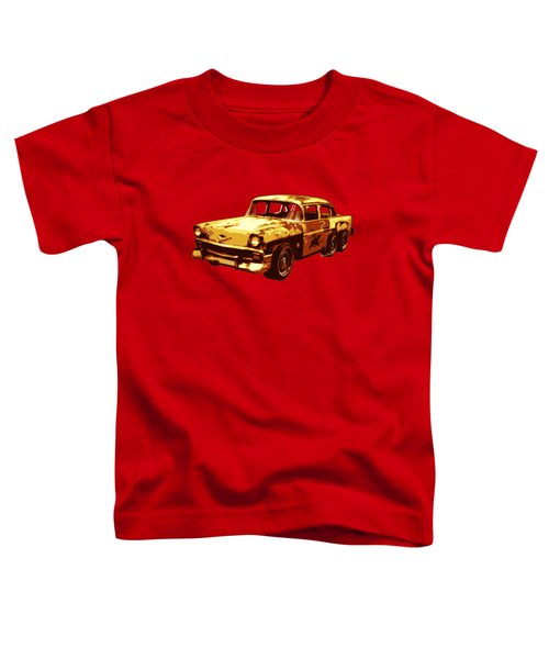 Roadrunner The Snake And The 56 Chevy Rat Rod Toddler T-Shirt by Chas Sinklier