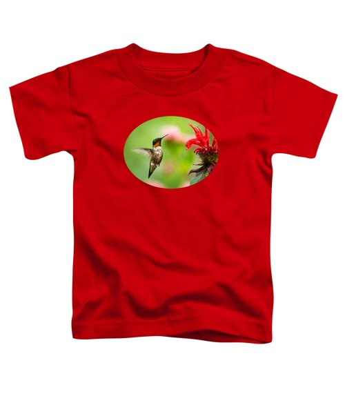 Male Ruby-throated Hummingbird Hovering Near Flowers Toddler T-Shirt by Christina Rollo