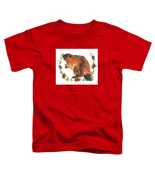 Beaver Painting Toddler T-Shirt by Alison Fennell