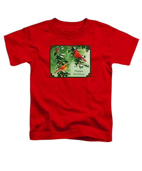 Cardinals Holiday Card - Version With Snow Toddler T-Shirt by Crista Forest