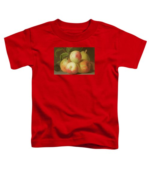 Detail Of Apples On A Shelf Toddler T-Shirt by Jakob Bogdany