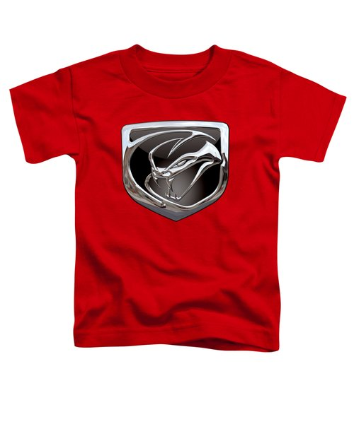 Dodge Viper - 3d Badge On Red Toddler T-Shirt by Serge Averbukh