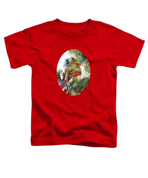 Female Northern Cardinal Toddler T-Shirt by Christina Rollo