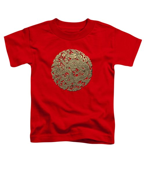Golden Chinese Dragon On Red Leather Toddler T-Shirt by Serge Averbukh