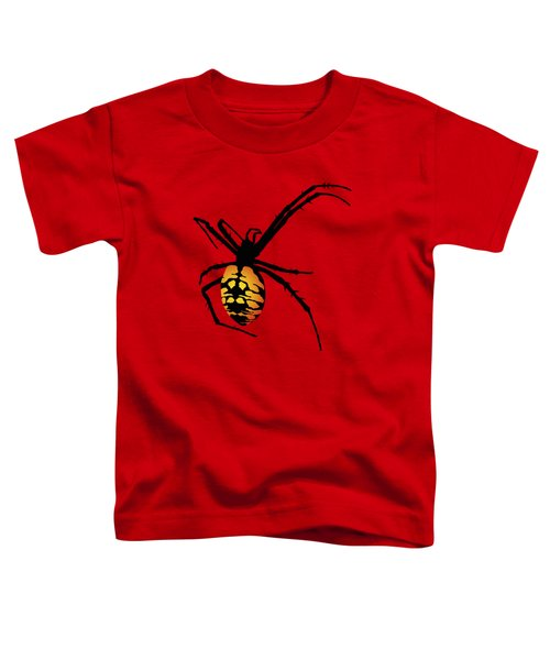 Graphic Spider Black And Yellow Orange Toddler T-Shirt by MM Anderson