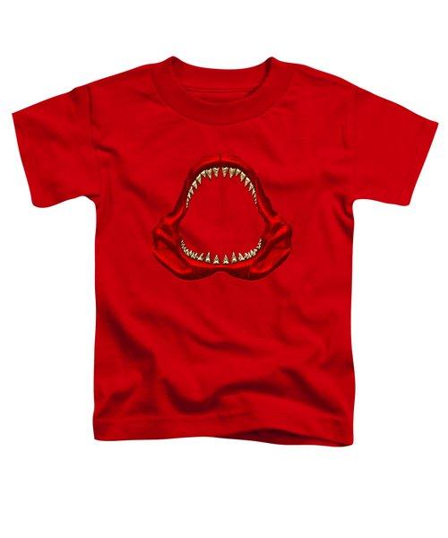 Great White Shark - Red Jaws With Gold Teeth On Red Canvas Toddler T-Shirt by Serge Averbukh