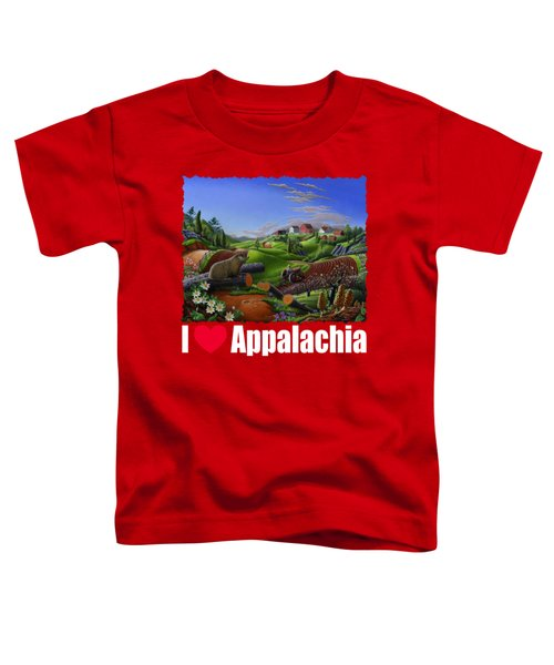 I Love Appalachia T Shirt - Spring Groundhog - Country Farm Landscape Toddler T-Shirt by Walt Curlee
