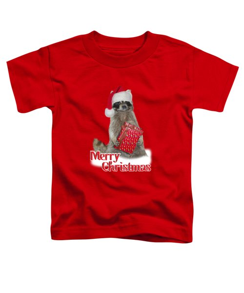 Merry Christmas -  Raccoon Toddler T-Shirt by Gravityx9 Designs