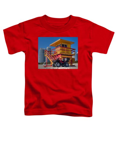 Miami Beach Lifeguard House Ocean Rescue Toddler T-Shirt by Toby McGuire