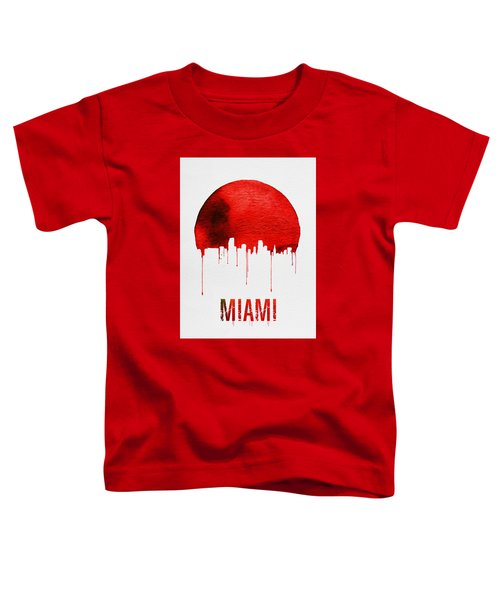 Miami Skyline Red Toddler T-Shirt by Naxart Studio